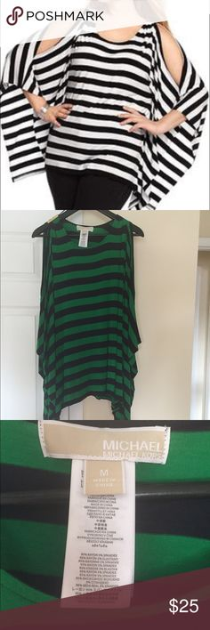 MICHAEL KORS cold shoulder top Super cute navy and green striped top. Pair it  up with a pair jeans or white skirt, heels or floppies for a easy and great summer and flirty look. Never been worn just washed once from the store. Michael Kors Tops Camisoles