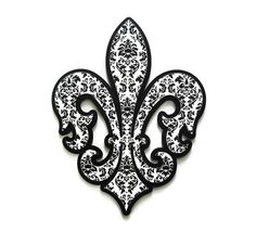 Fleur de Lis decor, wall decor in black and white damask stacked wooden fleur de lis wall art large French style decor from FischerFineArts