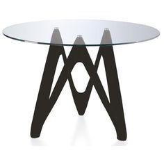 Table ronde Fibre de verre Noire et Verre trempé Perla