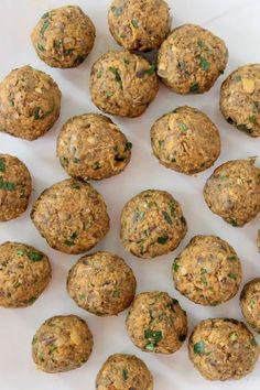 Vegan Chickpea Meatballs Recipe • Veggie Society Veggie Recipes, Beef Recipes, Whole Food Recipes, Vegetarian Recipes, Chickpea Recipes, Vegan Meals, Vegan Food, Dinner Recipes, Recipes