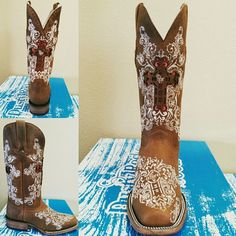 Cowgirl boot Brown Dusty Dally Square Toe Boot Embroidered boot and Comes with scarlet red inlay **INTERCHANGEABLE INLAY** this is a gorgeous square toe boot that you can pick and choose your color inlay to match any outfit!! Shoes Heeled Boots