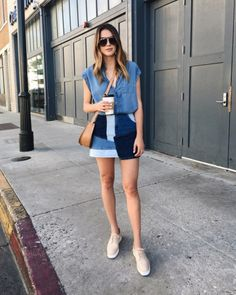 denim shirt + Zara denim patchwork skirt + nude oxford creeper sneakers + brown tan cuyana crossbody bag Top 5 Patchwork Denim Pieces Thrifts and Threads Nude Outfits, Style Outfits, Summer Fashion Outfits, Summer Outfits Women, Cool Outfits, Denim Skirt Outfits, Denim Outfit, Patchwork Denim, Patchwork Bags