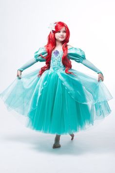 Ariel Disney Inspired Dress Ariel's Green Dress from by EllaDynae Disney Inspired Dresses, Disney Dress Up, Ariel Dress, Disney Princess Dresses, Ariel Disney, Ariel Costumes, Princess Costumes, Trendy Dresses, Girls Dresses