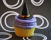 Halloween Witch hat fondant cupcake toppers