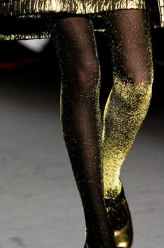 Hell yes to these shimmering gold tights at Anna Sui Fall 2013 - Details