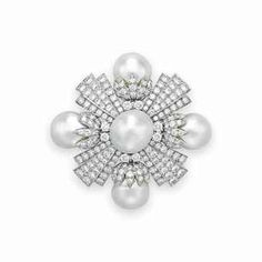 A CULTURED PEARL, DIAMOND AND PLATINUM BROOCH, BY DAVID WEBB