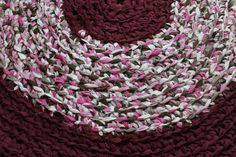 Burgundy Crochet Round Rag Rug Recycled Sheets OOAK by EsteraP, $59.00