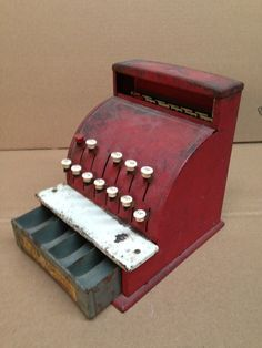 TOM THUMB Vintage Toy Cash Register made in the USA by Western Stamping Company of Jackson, Michigan - Circa 1940s through 1950s