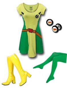 "EASY COSPLAY: ""X-men's Rogue Outfit"" by Danielle Deihm. X-men Steel Earrings Fake Plugs: http://www.superherostuff.com/x-men/earrings/x-men-316l-surgical-steel-earrings-fake-plugs.html?itemcd=earxmenplugtapers Yellow GoGo Boots: http://www.rakuten.com/prod/new-yellow-gogo-70s-disco-3-heel-costume-boots-us-sz-6/211408684.html Green Tights: http://store.americanapparel.net/product/index.jsp?productId=8328"