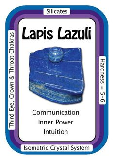 "Crystal Card of the Day: Lapis Lazuli, ""I see clearly and speak with confidence."" Good for balancing the Throat Chakra, Lapis Lazuli reminds us of the power of the spoken word, fosters full verbal expression, and clears problems caused by ""swallowing your tongue."" Lapis Lazuli encourages clear expression when sharing information with others, including easier communication of anger. Also a Third Eye Chakra opener, Lapis Lazuli connects the physical and celestial ..."