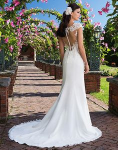 Available at Adore Bridal Boutique www.adorebridalga.com Style 3916: Lightweight, Classic Chiffon Gown with Illusion Back   Sincerity Bridal