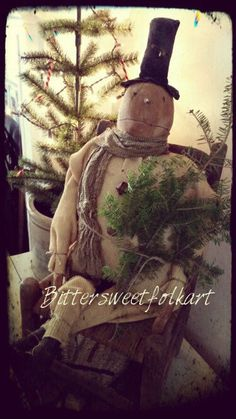 Primitive FolK Snowman *Bittersweetfolkart *