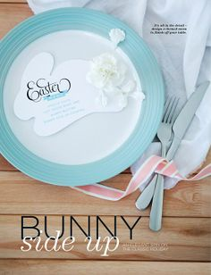Easter bunny menu, featured in the Easter-themed Entertainment pages of Livingspace magazine, by Mint Stationery. #easter #ideas #menu #bunny #mintstationery