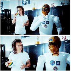 drag me down music video! .∙•✦ ᴘɪɴᴛᴇʀᴇsᴛ: @radVibess ✦•∙. >>> we all know how much fun Harry had with that robot.