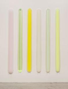 PETER BLAKE GALLERY - Peter Alexander, 6 Part Bars (Pink, Green, Yellow), Urethane, 77 × 6 1/10 × 1 in