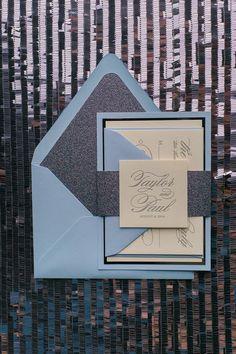 DIANE Suite Fancy Glitter Package, titanium and blue, gunmetal, blue wedding invitations, letterpress formal wedding invitations