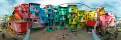 Now... how about some fun in the ghetto? This was exactly the mission of two Dutch painters Jeroen Koolhaas and Dre Urhahn - to go to the poorest section of Rio de Janeiro favelas (slums) and paint it in the cheerful way, with active participation of people who live there