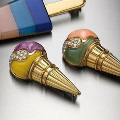 Bulgari Jewelry Ice Cream Cone brooches in gold with amethyst, pink coral, yellow and green chalcedony and diamonds 1986 Bulgari Jewelry, Gemstone Jewelry, Ear Earrings, Italian Jewelry, Bvlgari, Gelato, Jewelry Stores, Brooches, Jewerly