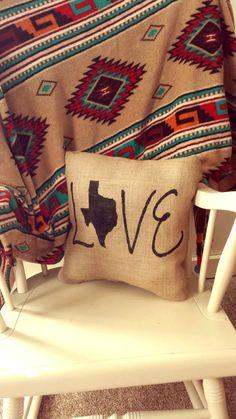 Texas Love Burlap Pillow Shabby Chic Texas Born Pride Texan Housewarming Gift Country Chic Burlap Texas Love Texas Texas Gift Rustic Chic