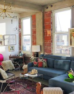 An Industrial, Eclectic Loft Living Room in Missouri | Apartment Therapy