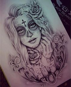 Realistic sugar skull tat Very realistic sugar skull tattoo depicting a female with long, dark hair, roses and butterflies, inked on a girl's side. Description from pinterest.com. I searched for this on bing.com/images