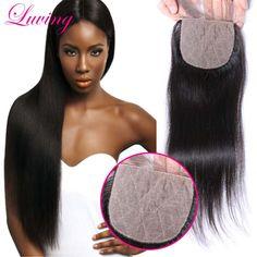 7A Unprocessed Top Quality Silk Base Lace Closure Peruvian Virgin Human Hair Straight Silk Top Closure With Baby Hair Fast Ship
