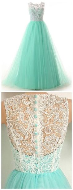 Elegant A-Line Prom Gowns,Crew Neck Prom Dresses,Floor Length Evening Dress,Tulle Homecoming Dress with Lace