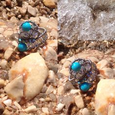Turquoise wired ring by Zojani