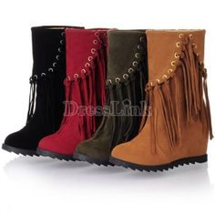 $ 11.43 Fashion Women's Faux Suede Fringe Tassel High Wedge Heel Mid-Calf Boots Shoes 4Colors