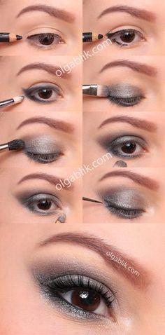 Step by step glam smokey eye