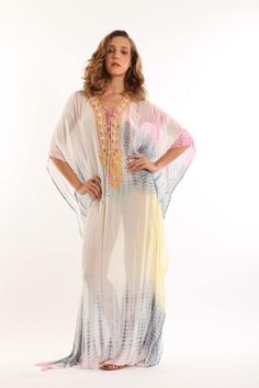MONIQUE LESHMAN Rimini Long Caftan in Watermelon/Lemon