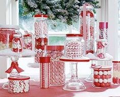 Red & White Christmas Candy Buffet
