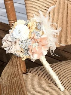 brooch bouquet with satin flowers