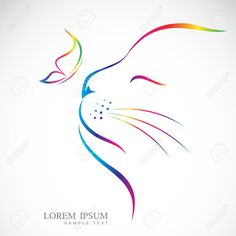 27899095-Vector-image-of-cat-and-butterfly-on-white-background-Stock-Vector.jpg (1300×1300)