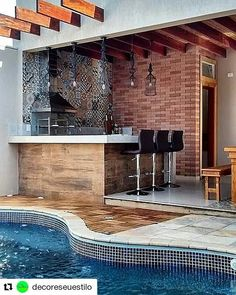 who needs this backyard/bar/pool area. It's APRIL and 93 today here in Sacramento! 🤦🏼♀️🥵😒 Catch me at the pool! Backyard Bar, Small Backyard Landscaping, Pool House Decor, Brick Bbq, Modern Bungalow House, Coffee Bar Home, Outdoor Kitchen Design, Rooftop Terrace, Bars For Home
