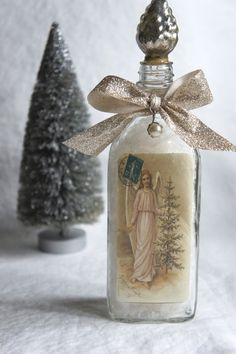 Holiday bottle altered holiday bottle Christmas decoration altered bottle decorative bottle Christmas bottle by My Sweet Maison