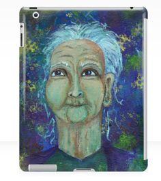 Auntie Ebb iPad case ~ http://www.redbubble.com/people/elizafayle/works/13682796-auntie-ebb?p=ipad-case  #woman #old #elderly #wise #crone