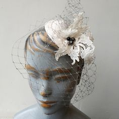 Grey veiling on a lace button perfect for the vintage inspired bride. Lace Button, Bird Cage, Vintage Inspired, Therapy, Bride, Grey, Hats, Artwork, Accessories