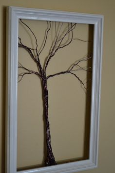 Framed Wall Art Jewelry Holder Wire Winter Tree by CreativeArtbyME, $65.00