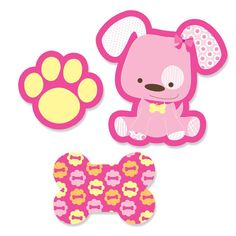 24 pc. Small Pink Girl Puppy Shaped Paper Cut Outs - Baby Shower, Birthday Party or Puppy Party Die Cut Decoration Kit