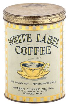 White Label Coffee Can Unusual early tin litho 1 lb. coffee can for White Label brand (Araban Coffee Co.Sold at: Antique Advertising Auctions Coffee Tin, Hot Coffee, Coffee Shop, Coffee Cups, Coffee Is Life, I Love Coffee, Coffee Break, Vintage Packaging, Coffee Packaging