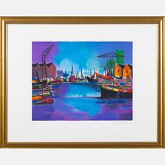 LOT 15 MARCEL MOULY Marcel Mouly , (1918-2008) - Grand Port Bleu, 1996, Medium: Lithograph, Dimensions: H: 14 1/2 W: 18 Est: $80-120 With Certificate of Authenticity. Framed dimensions: h: 24 1/4 x w: 30 1/2 in. Provenance William S. Fitts Trust UAD. Signature Signed lower right and numbered E.A. lower left in pencil.