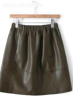 Ericdress Dark Green PU Skirt  Skirts