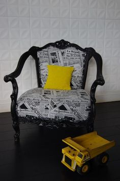i want to reupholster cool chairs like this! Cool Chairs, Side Chairs, Chiropractic Office, Newspaper Printing, Faux Bamboo, First Home, Once Upon A Time, Living Room Furniture, Mid-century Modern