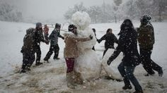 Israelis playing in snow in Jerusalem!
