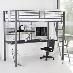 Powell Nicholas Twin Loft Bed - Loft Beds at Simply Bunk Beds Ikea Bunk Bed, Bunk Bed With Desk, Bunk Beds With Stairs, Kids Bunk Beds, Desk Bed, Ikea Loft, Desk Lamp, Metal Bunk Beds, Bedroom Decor