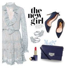 """Blue Belle"" by tjclay3 ❤ liked on Polyvore featuring Alexis, Sevil Designs, Lodis, Estée Lauder and chokerdress"