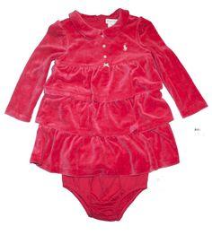 NWT Ralph Lauren Baby Girls Ruffled Tiered Velour Shirtdress & Panty Set 18 M #RalphLauren #DressyEverydayHolidayPageantWedding