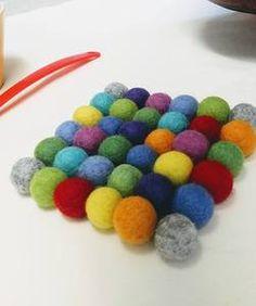 Felt Ball Kitchen Trivet - Rainbow
