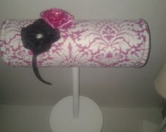Boutique Headband display pink damask wood stand. Craft show designs great bedroom decor, photo prop, booth displays, holder sale